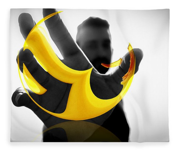 Fleece Blanket featuring the digital art The Virtual Reality Banana by ISAW Company
