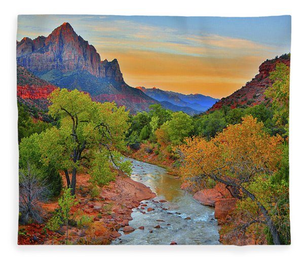 Fleece Blanket featuring the photograph The Watchman And The Virgin River by Raymond Salani III