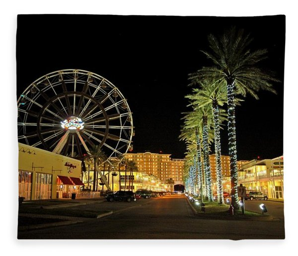 The Wharf At Night  Fleece Blanket