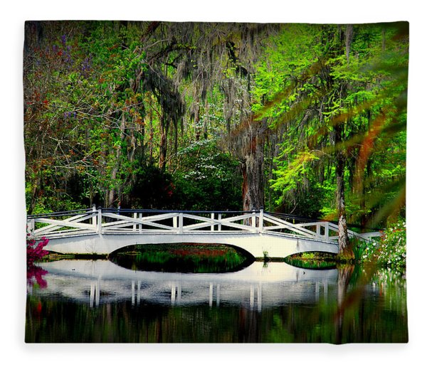 The White Bridge In Magnolia Gardens Sc Fleece Blanket