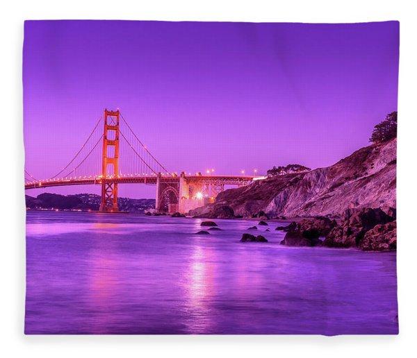 Golden Gate Bridge At Night Fleece Blanket