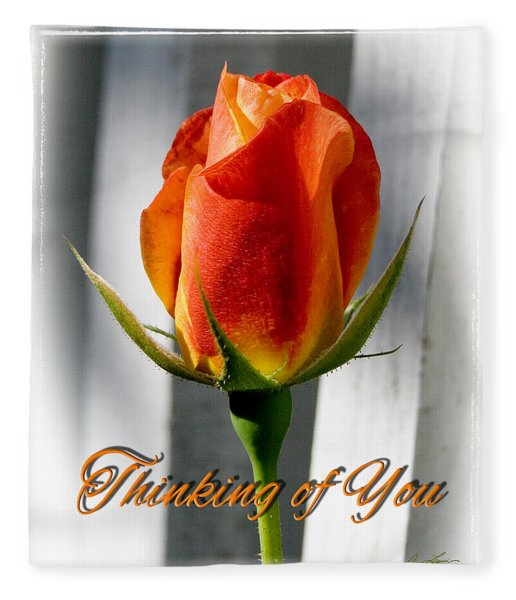 Thinking Of You, Rose Fleece Blanket