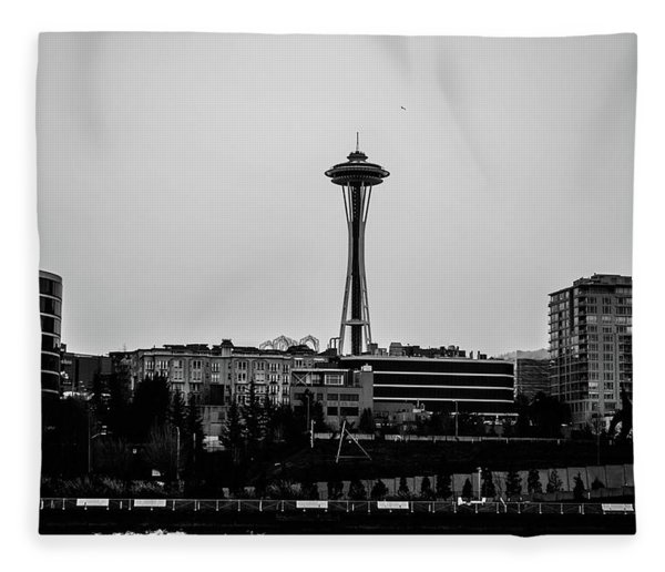 This Is Seattle Black And White Fleece Blanket