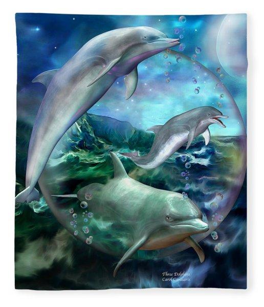 Three Dolphins Fleece Blanket