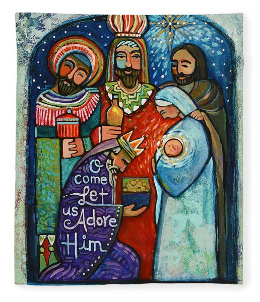 Three Kings O Come Let Us Adore Him Fleece Blanket