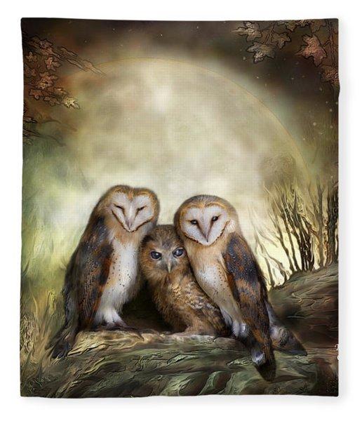 Three Owl Moon Fleece Blanket