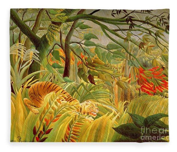 Tiger In A Tropical Storm Fleece Blanket