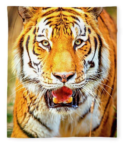 Tiger On The Hunt Fleece Blanket