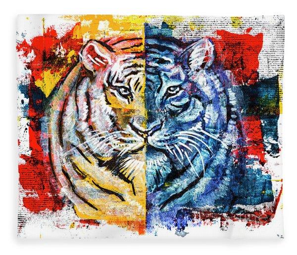 Tiger, Original Acrylic Painting Fleece Blanket