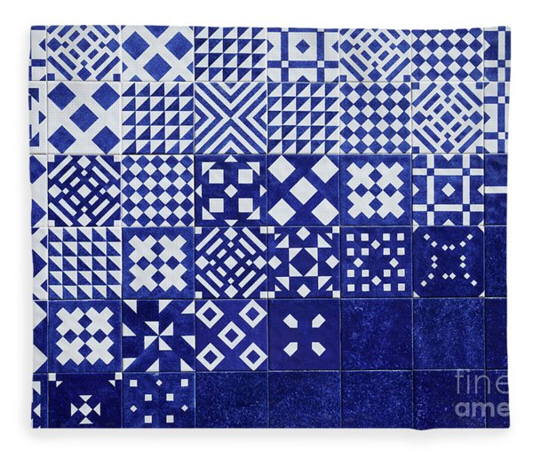 Tile Blue Background Fleece Blanket