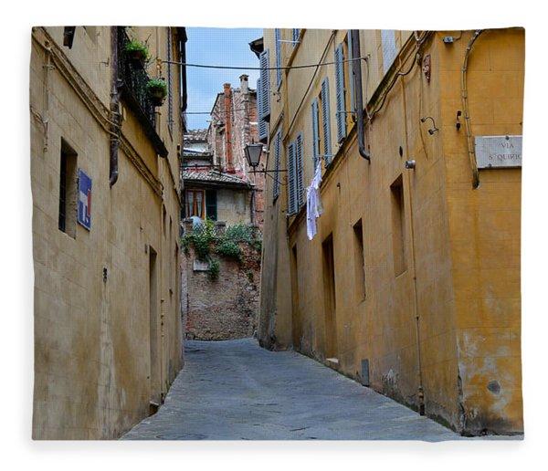 Tiny Street In Siena Fleece Blanket