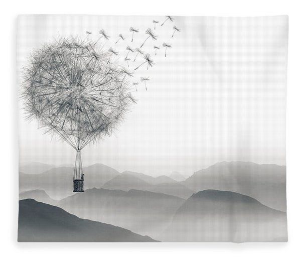 Fleece Blanket featuring the digital art To Fly Only For A Moment by ISAW Company