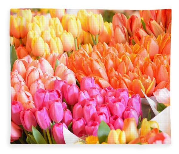 Tons Of Tulips Fleece Blanket