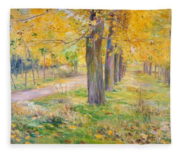 Top Quality Art - Poplar Yellow Leaves Fleece Blanket