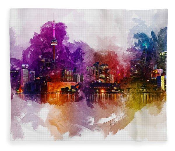 Toronto Canada Skyline Fleece Blanket