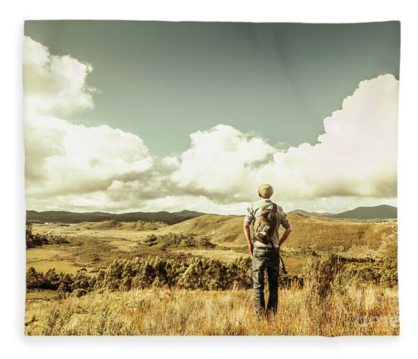 Tourist With Backpack Looking Afar On Mountains Fleece Blanket