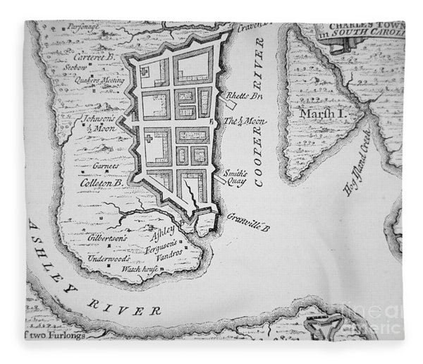 Town And Harbor Of Charleston South Carolina Fleece Blanket