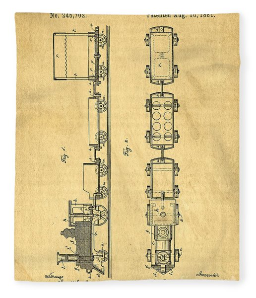 Toy Train Original Vintage Patent Art Fleece Blanket
