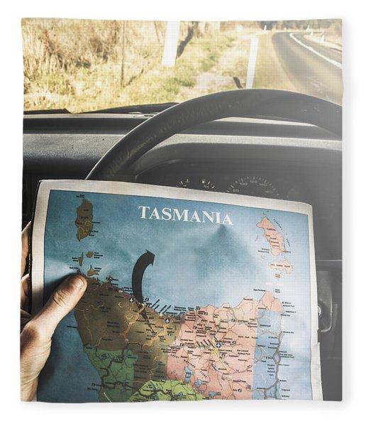 Travelling Tourist With Map Of Tasmania Fleece Blanket