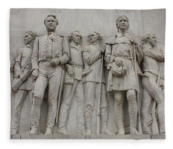 Travis And Crockett On Alamo Monument Fleece Blanket