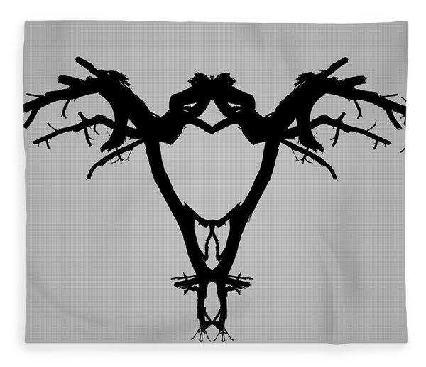 Tree Bird I Bw Fleece Blanket