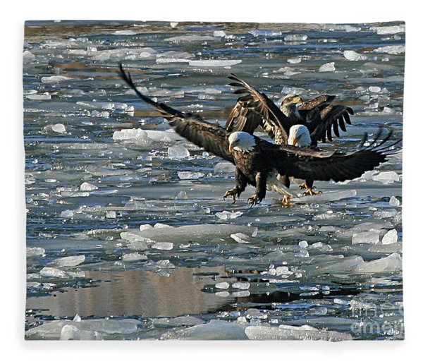 Tree Eagles On Ice Fleece Blanket