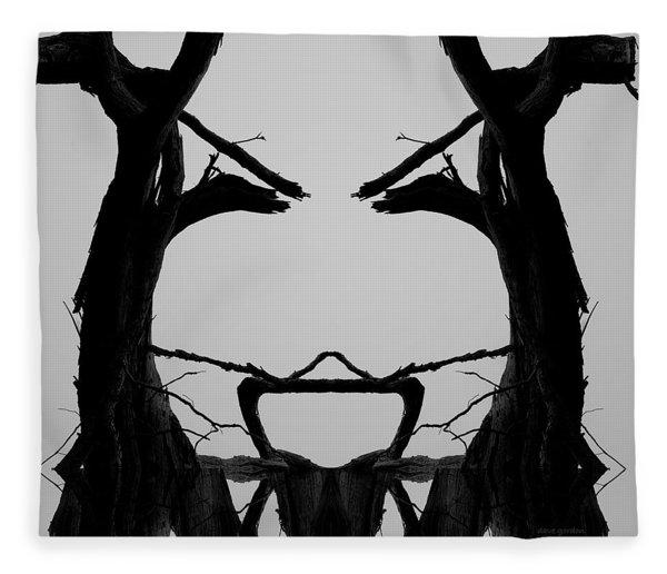 Tree Face I Bw Sq Fleece Blanket