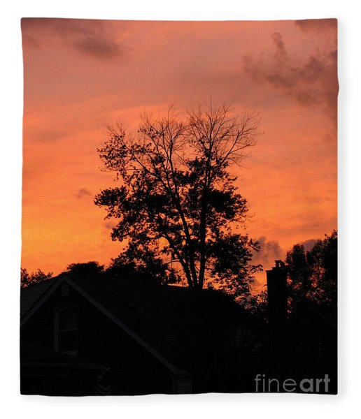 Tree On Fire Fleece Blanket