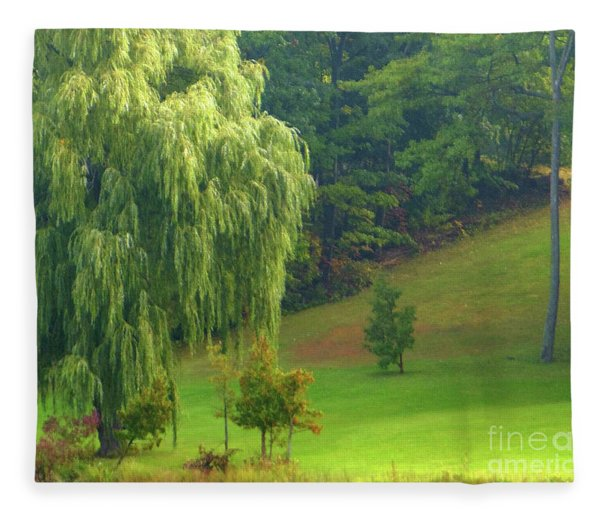 Trees Along Hill Fleece Blanket