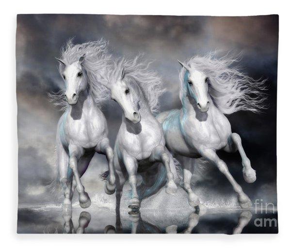 Trinity Galloping Horses Blue Fleece Blanket