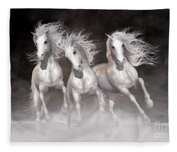Trinity Horses Neutrals Fleece Blanket