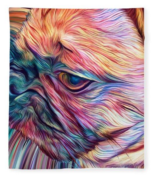Fleece Blanket featuring the digital art Trippy Arabella by Matt Lindley