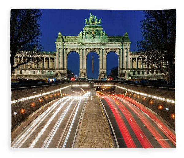 Fleece Blanket featuring the photograph Arcade Du Ciquantenaire At Blue Hour by Barry O Carroll