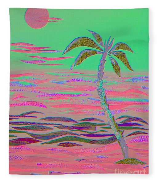 Hot Pink Coconut Palm Fleece Blanket