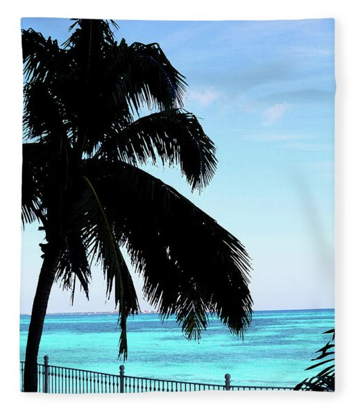 Tropical Sea View From Patio Fleece Blanket
