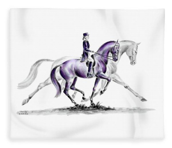 Trot On - Dressage Horse Print Color Tinted Fleece Blanket