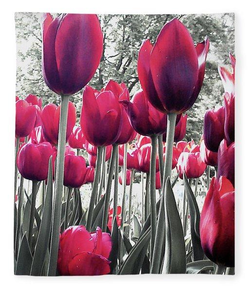 Tulips Tinted Fleece Blanket