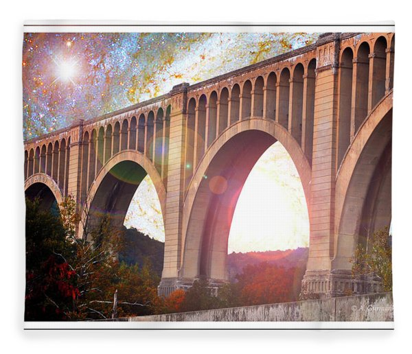 Tunkhannock Viaduct, Nicholson Bridge, Starry Night Fantasy Fleece Blanket