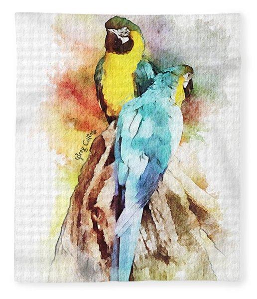 Twin Parrots Fleece Blanket