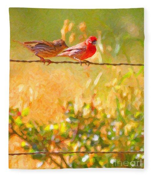 Two Birds On A Wire Fleece Blanket