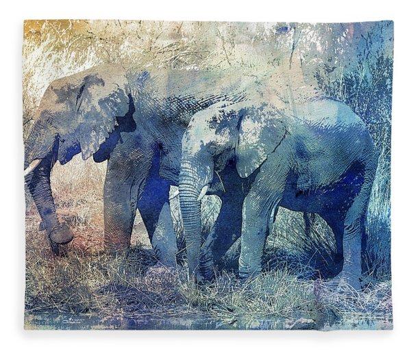 Two Elephants Fleece Blanket