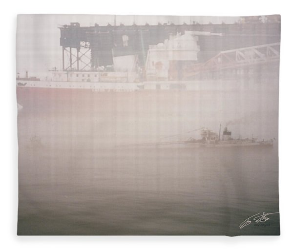 Two Harbors Fog Ship II Fleece Blanket