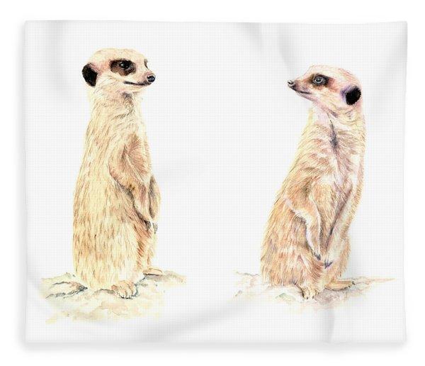 Two Meerkats Fleece Blanket