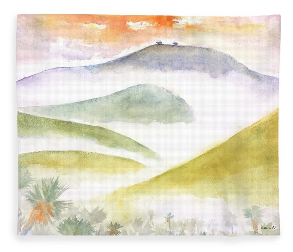 Two Trees - Foggy Ventura Morning Fleece Blanket