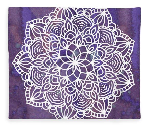 Fleece Blanket featuring the digital art Ultraviolet Mandala by Bee-Bee Deigner
