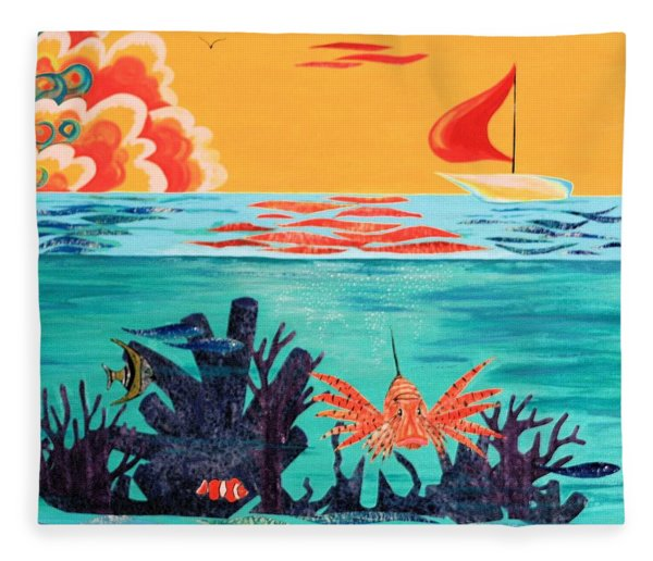 Bright Coral Reef Fleece Blanket