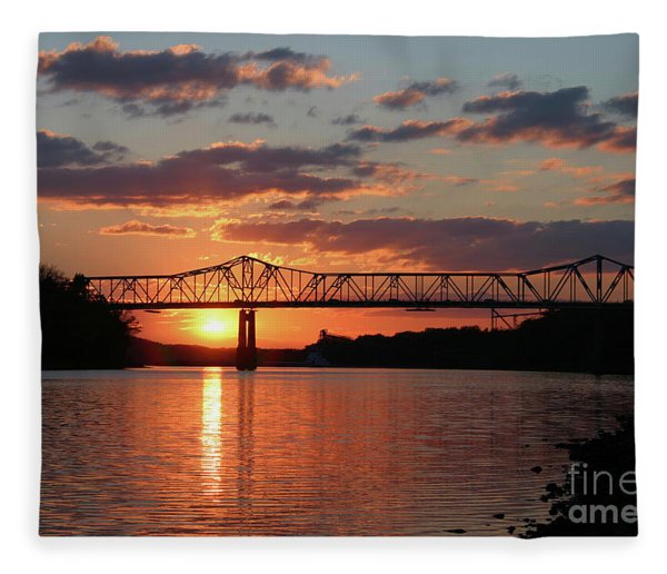Utica Bridge At Sunset Fleece Blanket