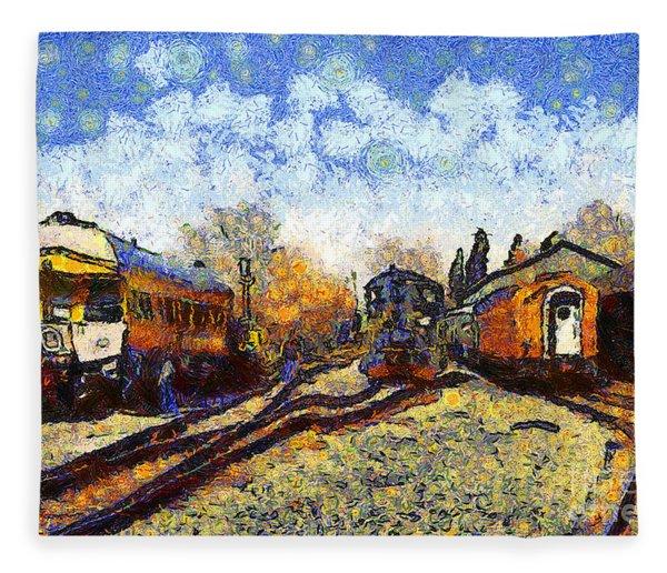 Van Gogh.s Train Station 7d11513 Fleece Blanket