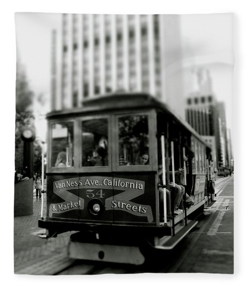 Van Ness And Market Cable Car- By Linda Woods Fleece Blanket
