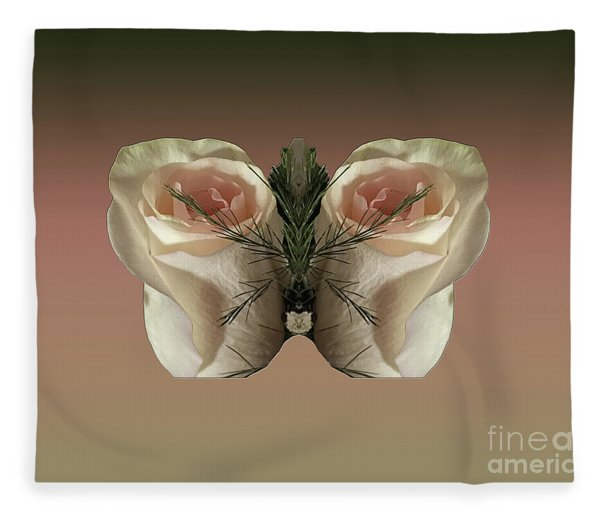 Vanilla Butterfly Rose Fleece Blanket